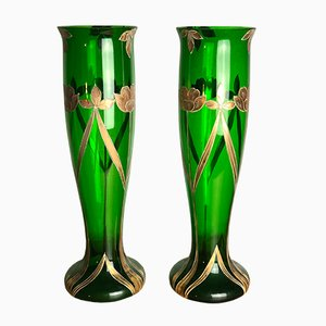 Art Deco Enameled Glass Flower Vases, 1920s, Set of 2