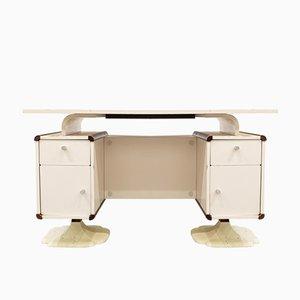 Kleiner Französischer Holz & Formica Schreibtisch, 1970er