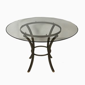 Table de Salle à Manger en Fer et Verre par Pierre Vandel, années 60
