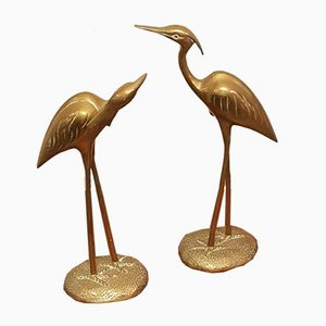 Brass Herons Cranes, 1970s, Set of 2