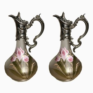 Frosted Glass Ewers, 1940s, Set of 2