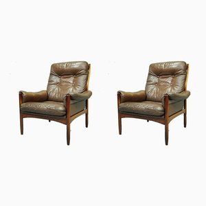 Swedish Leather Rosewood Lounge Chairs from G-Mobel, 1960s, Set of 2
