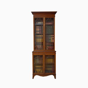 Antique Edwardian Mahogany and Inlaid Bookcase