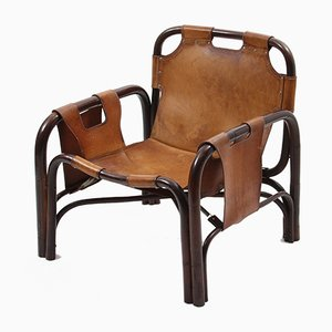 Mid-Century Leather and Bamboo Safari Armchairs, Set of 2