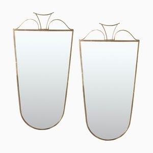 Espejos de latón de Gio Ponti, años 50. Juego de 2