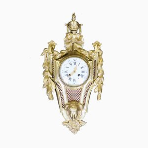 Antique French Louis XVI Bronze Gilt Cartel Wall Clock, 1870s