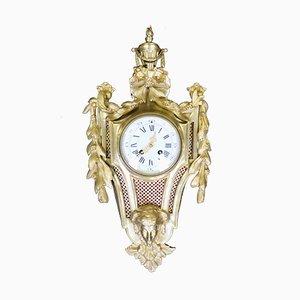 Reloj de pared Louis Cartel de bronce Louis XVI francés antiguo, década de 1870