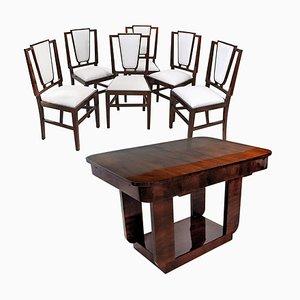 Juego de mesa de comedor francés Art Déco y sillas de Michel Dufet, años 30. Juego de 7