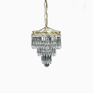 Italian Art Deco Crystal Glass Chandelier, 1930s