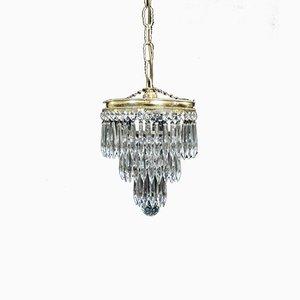 Lámpara de araña italiana Art Déco de cristal, años 30