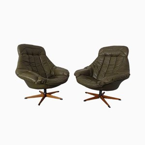 Leather Swivel Chairs by H. W. Klein for Bramin, 1960s, Set of 2