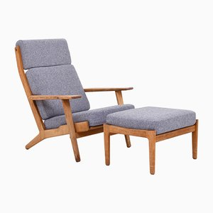 Mid-Century GE 290 Lounge Chair & Ottoman by Hans J. Wegner for Getama, Set of 2