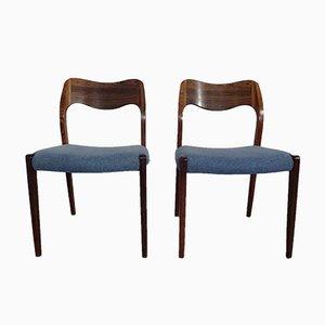 Chaises d'Appoint Modèle 71 en Palissandre par Niels Otto Møller pour J. L. Møllers, années 60, Set de 2
