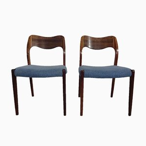 Rosewood Model 71 Side Chairs by Niels Otto Møller for J.L. Møllers, 1960s, Set of 2