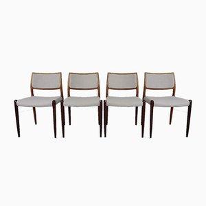 Palisander Modell 80 Esszimmerstühle von Niels Otto Møller für JL Møllers, 1960er, 4er Set