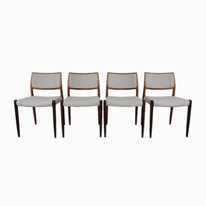 Rosewood Model 80 Dining Chairs by Niels Otto Møller for J.L. Møllers, 1960s, Set of 4