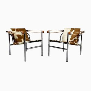 Fauteuils LC1 par Le Corbusier pour Cassina, années 70, Set de 2