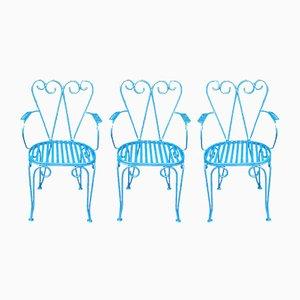 Chaises de Jardin Mid-Century, Set de 3