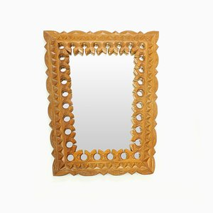 Czech Hand-Carved Wooden Mirror, 1950s
