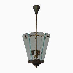 Italian Brass Lantern Ceiling Lamp by Pietro Chiesa for Fontana Arte, 1940s