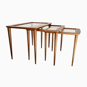 Cherry Coffee Tables by Carlo de Carli, 1950s, Set of 3