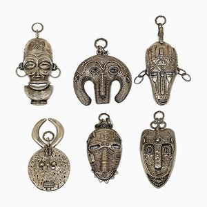 African Silver Masks, 1970s, Set of 6