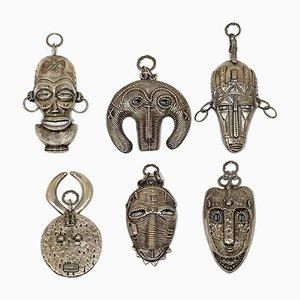 Afrikanische Masken aus Silber, 1970er, 6er Set