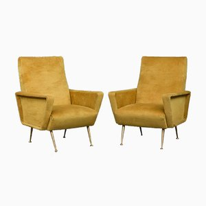 Italian Velvet Lounge Chairs, 1960s, Set of 2
