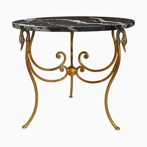 Black Marble, Iron & Gold Leaf Finish Side Table by Cupioli