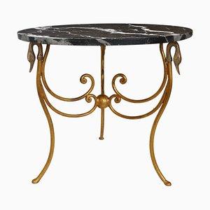 Table d'Appoint en Marbre Noir, Fer et Feuille d'Or par Cupioli