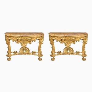 Antique Roman Console Tables, Set of 2