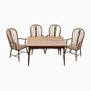 Dining Table & Windsor Chairs, 1970s, Set of 5