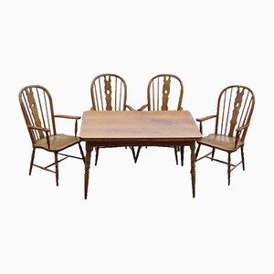 Mesa de comedor y sillas Windsor, años 70. Juego de 5