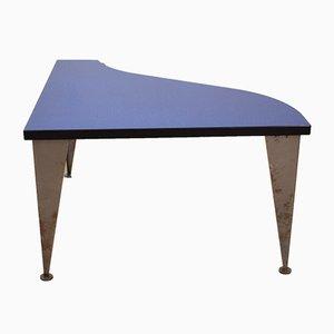 Table Basse Postmoderne Bleue, Argentée et Noire, Italie, années 80