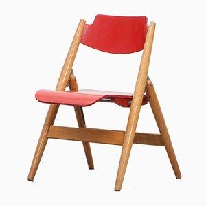 Sedia da bambino pieghevole rossa in legno di Egon Eiermann per Wilde+Spieth, anni '50