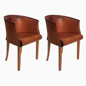 Italian Leather Armchairs by Antonio Citterio for Flexform, 1990s, Set of 2