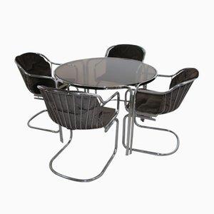Juego de mesa de comedor y sillas Mid-Century de cromo de Gastone Rinaldi, años 60. Juego de 5