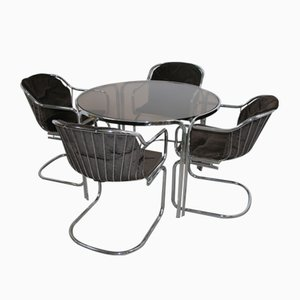 Mid-Century Chrome Dining Table & Chairs Set by Gastone Rinaldi, 1960s, Set of 5