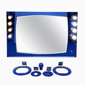 Juego de espejo y accesorios para baño de cristal azul de Crystal Art, años 70. Juego de 7