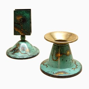 Art Deco Candleholder & Matchbox Holder by Paul Haustein for WMF, 1920s, Set of 2