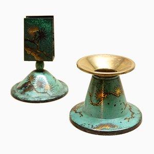 Candelero Art Déco y caja de cerillas de WMF, años 20. Juego de 2