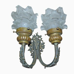 Art Deco Brass Double Sconce, 1940s