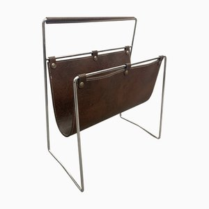 French Chromed Steel & Leather Magazine Rack by Jacques Adnet, 1970s