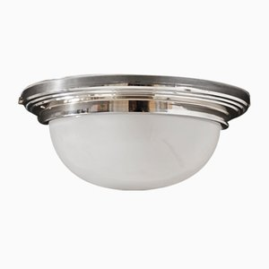Large Chrome Ceiling or Wall Lamp, 1940s