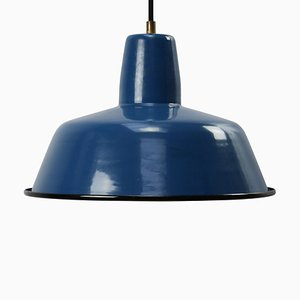 Vintage Industrial Blue Enamel Pendant Lamp from Siemens