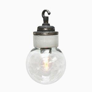 Industrielle Vintage Deckenlampe aus weißem Porzellan & Klarglas, 1950er
