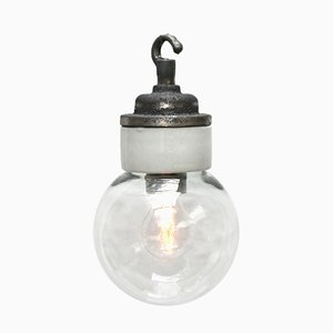 Vintage Industrial White Porcelain and Clear Glass Ceiling Lamp, 1950s