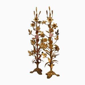 Decoración de altar francesa de latón dorado y porcelana, siglo XIX. Juego de 2