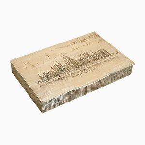 Mid-Century Budapester Parlament Zigarettenschachtel aus Metall & Holz