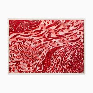 Tableau Scagliola Rouge Art Décoré en Relief par Cupioli